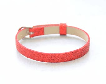 1 red customize glitter leather bracelet
