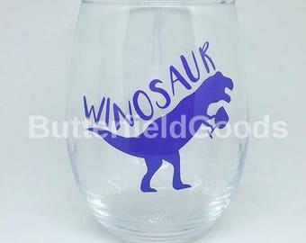 Winosaur stemless wine glass, dinosaur wine glass, winosaur, girls night, funny wine glass