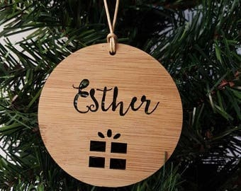 Personalised Wood Christmas Decoration-Present-Ornament-christmas tree-gift-christmas gift-wooden-teachers gift
