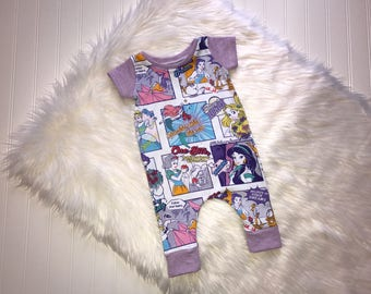 Disney princess jumpsuit, baby romper, baby coveralls, baby girl body suit, princess rompers