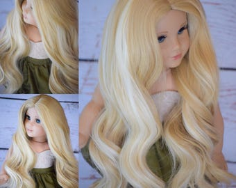 "Custom Doll wig for 18"" American Girl Doll Heat Safe Tangle Resistant - Our Generation Gotz Journey Girl My Life  Blonde"