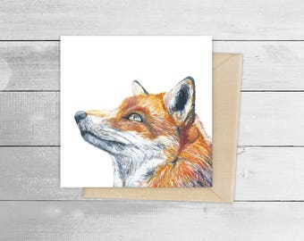 15cm x 15cm Red Fox Greetings Card