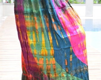 Adorable Colorful Tie Dye skirt , Multi Colored, Maxi Skirt,Hippie skirt,Handmade tie dye skirt, Boho skirt,Comfy, WS002-3