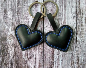 Leather Key Fob.Leather Keychain Hearts.Gift for Him,Gift for Her,Gift for Family,Gift for Friend,Gift for Colleague.Housewarming Gift.