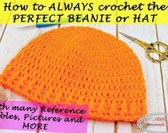 Crochet TUTORIAL: Learn how to crochet the perfect beanie or hat in 3 different ways *instant downloadable pdf