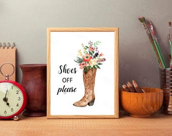 Cowboy Boots Art Print, Instant Download, Watercolor Print, Shoes Off Please, Western Print, Rustic Home Decor, Cowboys Decor