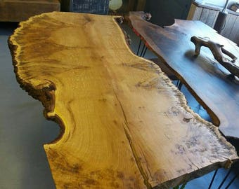 Live edge slab dinibg table oak burr bespoke
