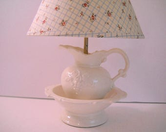 Vintage Water Pitcher and Bowl Lamp