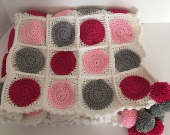 Circles Baby Afghan, Pink, Gray, Raspberry Circle afghan, Crochet Baby Blanket, Crochet Baby Afghan, Baby Shower Gift, Nursery Accessory