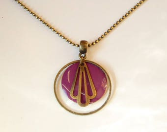 Bronze necklace with purple sequin and retro style finish