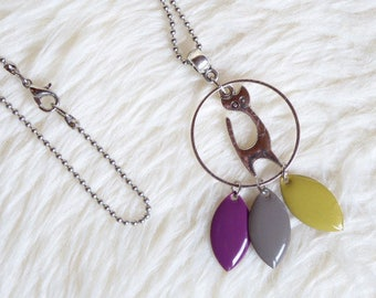 Purple grey yellow sequin and silver cat pendant necklace