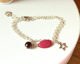 Bracelet doubles tour silver with enameled sequin pink raspberry and Brown magic Pearl