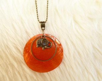 Bronze elephant and orange sequin necklace