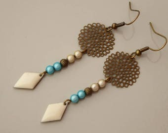 Rose filigree earrings, sequin and beaded magical turquoise blue and cream