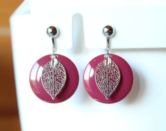 Silver with enameled sequin raspberry and silver filigree leaf clip earrings