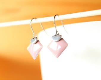 enamelled sequin pink old diamond and silver fan earrings