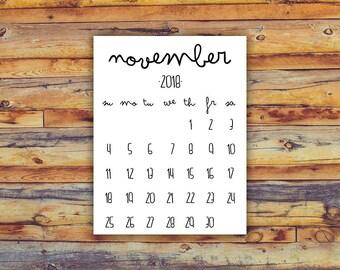 calendar print november 2018