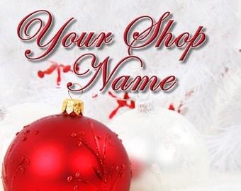 Christmas Etsy Banner, Premade Banner, Logo Banner, Christmas Shop Set, Banner Set,  Christmas Logo, Shop Logo, Cover Photo, Banner Design,