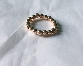Rose Gold Beaded Stretch Ring • Rose Gold Ring • Beaded Ring • Stretch Ring