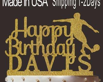 Any Name, Personalized Happy Birthday Cake Topper, Custom Football Cake Topper, Cardstock Cake Topper, Create Your Own! Custom Name, PT003