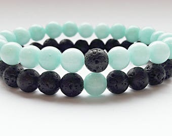 boyfriend girlfriend jewelry matching couple bracelets his and hers long distance relationship bracelet boyfriend gift lava jade black mint