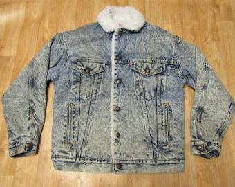 Vintage Levis sherpa jacket Acid Wash Small