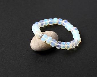 Yoga moonstone bracelet Moonstone birthday Good fortune jewelry Rainbow moonstone bracelet Silver bead bracelet Meditation yoga bracelet