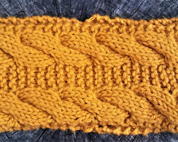 Mustard Yellow Cable Knit Earwarmer (CHOOSE YOUR COLORS)