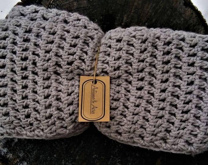 Gray Crochet Infinity Scarf (READY TO SHIP)
