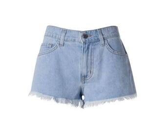 High waisted jean shorts summer boho style cuffed distressed women shorts women shorts daisy duke shorts perfect worn in distressed shorts