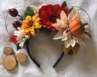 Not So Scary Pumpkin Patch Floral Ears Headband - Perfect for a fall trip to Disney to visit Mickey and Minnie