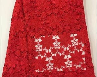 Super Red Cord Lace Fabric