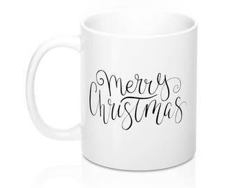 Merry Christmas Black and White Typographic Mug, Coffee Mug