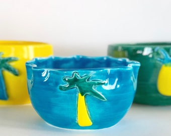 Handmade Tropical Bowls Pineapples and Palm Trees