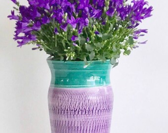 Ultra Violet and Green Flower Vase Handmade