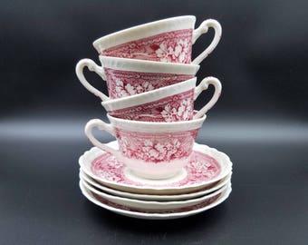 Warwick Tudor Rose ~Transferware Cups and Saucers ~ Set of 4 Cups & Saucers ~ Red/ Pink Transferware