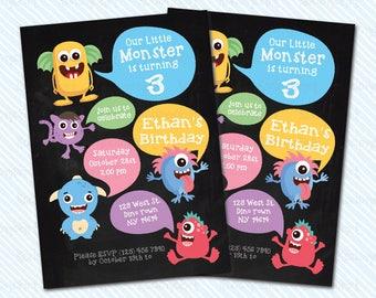 Digital Printable Monster Birthday Invitation. Monster invitation. Girl invitation. Boy birthday