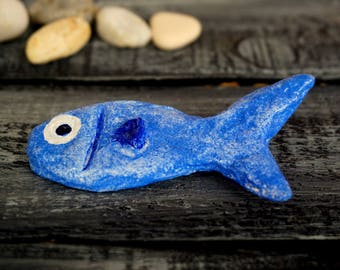 Cute Fish, Animal Brooch, Fish Jewelry, Paper Mache Brooch, Fish Pin, Fun Jewelry, Paper Jewelry, Summer Brooch, Girl Gifts