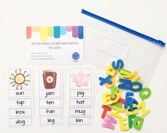 Busy Bag - Spelling Activity Kit - Toddler Gift - Kids Travel Game - Educational Toy - Blueberry - Preschool Tasks - Quiet Toddler Bag - CVC