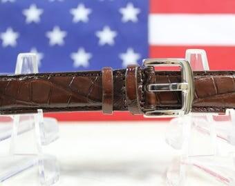 Genuine Brown Alligator Leather Skin Watch Strap 18mm (Made in U.S.A) #46