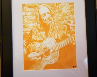 Original watercolor Willie Nelson Painting