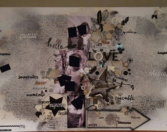 Scrap on canvas painting large format