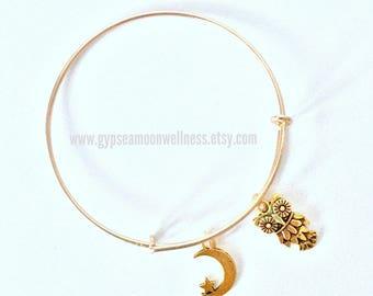 Gold Night Owl, Crescent Moon Adjustable Charm Bangle Bracelet Lead Free Handcrafted Jewelry Boho Chic Fashion Style Handmade Jewelry