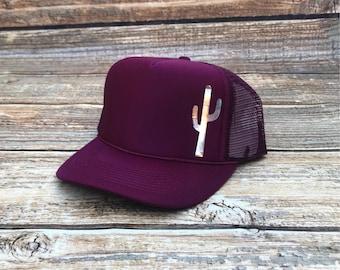 Cactus trucker hat, cactus hat, mom hat, trucker hat, mama hat, maroon trucker hat, maroon hat, green hat, olive trucker hat