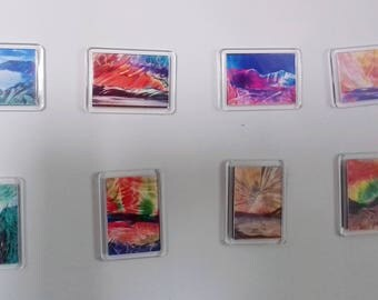 Set of Eight Encaustic Wax Painting Miniature Prints in Fridge Magnets