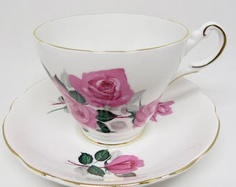 Regency English Bone China Footed Teacup and Saucer Large Pink Roses Pattern