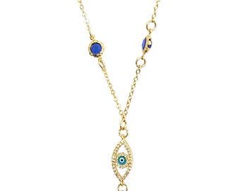 Evil Eye Blue Lariat Necklace