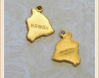 Hawaii 12 pcs raw brass state charm HI
