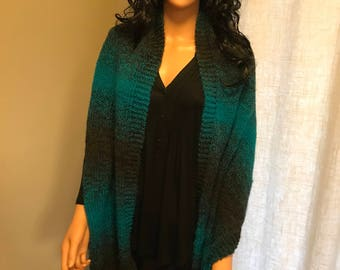 Black and turquoise shoulder wrap