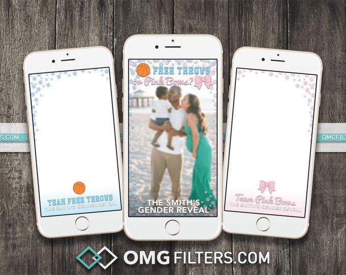 Free Throws or Pink Bows Gender Reveal - Custom Snapchat Filter - Choose from a Single Geofilter or a Pack of 3!